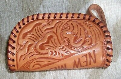 Vintage Hand Tooled Zippered Leather Coin Purse Flowers Leaves New Mexico