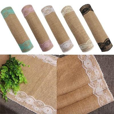 2.75mx30cm Burlap Natural Jute Table Runner with Lace for Party Decoration shan