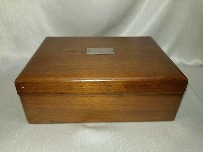 Vintage Wooden Humidor With Milk Glass Inserts