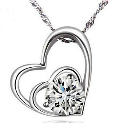 Double 2 Size Love Heart Zircon Necklace Valentine's Day Holiday Delicate Shan