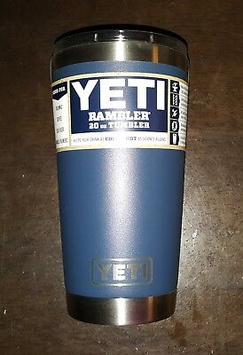 Brand New YETI Rambler 20 OZ Tumbler Lid Navy with 8 Stainless Straws & Pouch