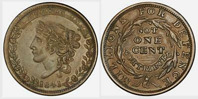 1841 Hard Times Token-Liberty Head-Millions for Defence-HT 58 (Low 69) XF Cond.
