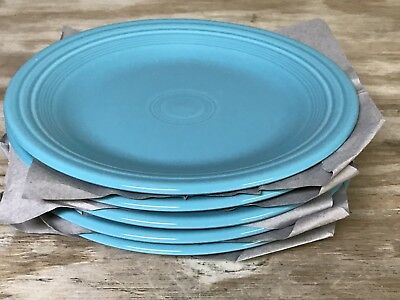 """Set Of 5 Fiesta Dinner Plates Turquoise Blue 10.5"""" Inch Fiestaware Excellent"""