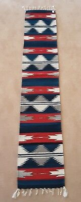 """ZAPOTEC INDIAN RUG, RUNNER, Back Strap Hand Loomed, 82"""" by 16"""", Wool"""