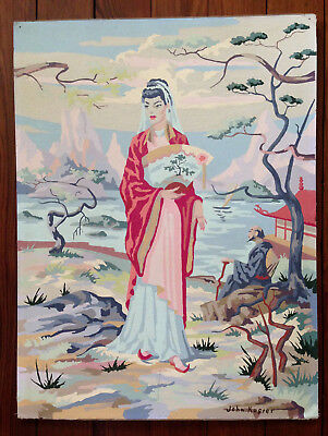 """Vintage 1950's Paint By Number (pbn) Japanese Woman Geisha Water 18""""x24"""" VG"""