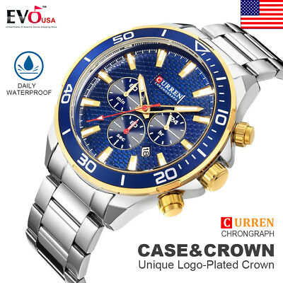CURREN Luxury Mens Chronograph Automatic Date Stainless Steel Quartz Wrist Watch
