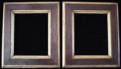 Pair of Antique Victorian Burl Birdseye Maple Gold Gilt Picture Frames 8 x 10