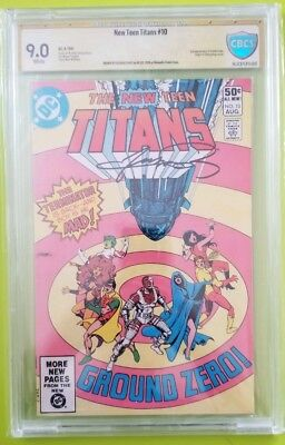 New Teen Titans #10 CBCS 9.0  yellow label 2nd Deathstroke signed George Perez