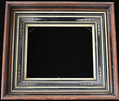 Antique Aesthetic Eastlake Victorian 8 x 10 Picture Frame GOLD GILT Ebonized