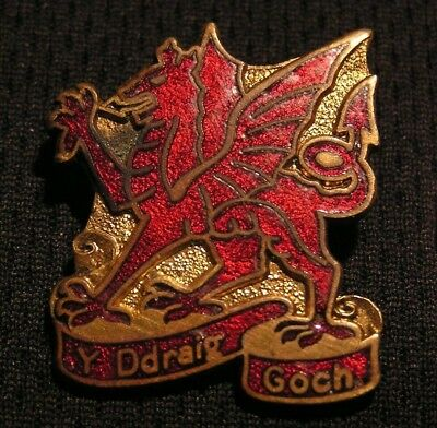 Vintage Welsh Red Dragon Pin - Y Ddraig Goch - Wales Celtic - Birmingham Enland