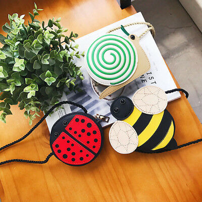 Girls Ladybug Snail Shape One Shoulder Crossbody Bag For Phone Money Pouch Shan