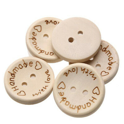 100x Lot Wood Buttons Beige Handmade Round DIY Sewing Accessories Craft Shan