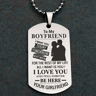 To my Boyfriend I Love You Letter Engrave Couple Keychain Key Ring Keyring Shan