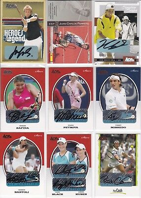 Huge lot of 79 autograph signature cards, many numbered. Huge value. Some greats