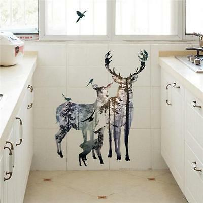 Silhouette Art Wall Sticker Deers in Forest Mural Home Decor shan
