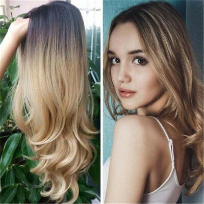 Long Wavy Full Wigs Ombre Blonde Synthetic Hair Wig Heat Resistant Chic Shan