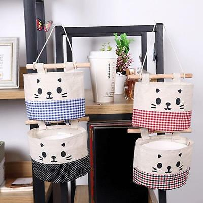 Wall Hanging Storage Bag Organizer Cat Cartoon Container Cotton Linen Toy Shan
