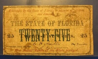 1868 State Of Florida 25 Cent Note Civil War Fractional Currency
