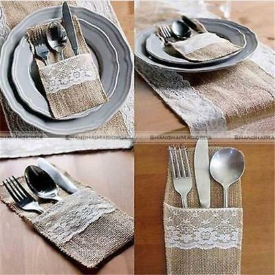 5pcs Natural Jute Burlap Cutlery Holders Packaging Fork and Spoon for Wedding SA