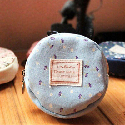 Simple Style Women Girl Kid Storage Bag Flower Floral Coin Round Bag SA