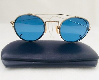 Antique Silver Tone / White Metal Eyeglasses with BLUE Clip Ons and Case