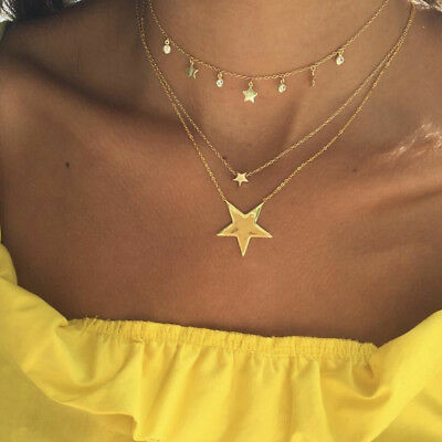 Temperament Multi Layer Five Point Star Necklaces for Valentine's Day Gifts Shan