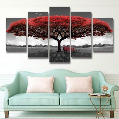 Home Decor Canvas Prints Painting Red Tree Scenery Bench Wall Art 5PCS shan