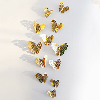 12Pcs Hollow Wall Stickers Butterfly Fridge for Home kitchen kids rooms Decor SA