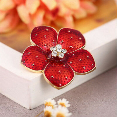 Red Burgundy Classy Design Brooch Pin Bling Bling for Girls Ladies Suit Shan