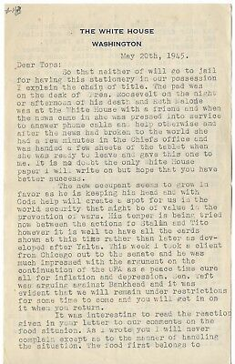 Franklin Roosevelt: Letter on White House Stationary from Day of his Death, 1945
