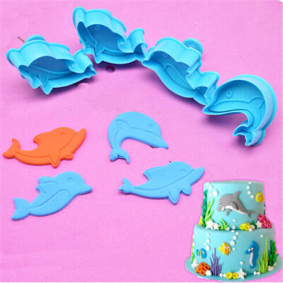 Set of 4 Dolphin Shape Cookie Cutter Plunger Fondant Mold Animal Cake Decor Tool