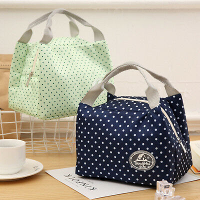 Women Stripped Insulated Thermal Cooler Lunch Box Tote Storage Bag Picnic Shan
