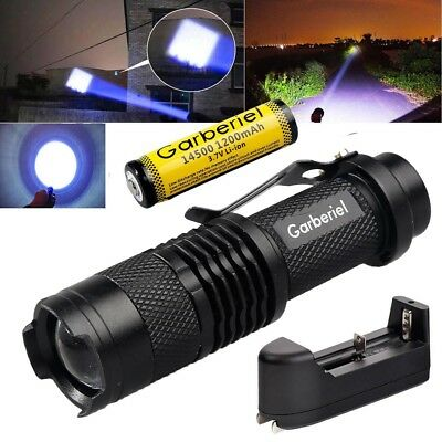 Tactical Police 80000LM LED Flashlight Rechargeable Zoom Torch+Battery+Charger U