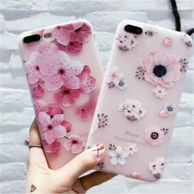 Floral Pattern Pink Flowers Blue Soft Case Cover for iPhone 6 6s 7 Plus shan