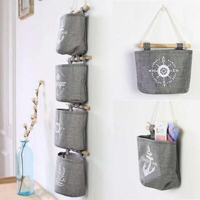 Portable Foldable Cotton Linen Closet Hanging Bag Wall-mounted Storage Bags shan
