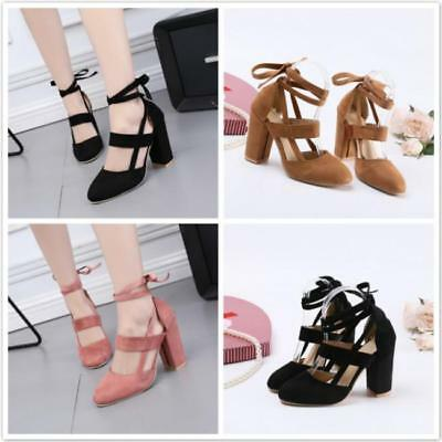 New Ladies Pointed Toe Strappy Shoes Women High Heel Lace Up Party Sandals SS