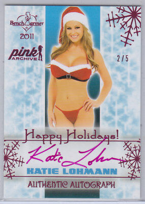 2015 Benchwarmer Pink Archive Katie Lohmann Holiday Autograph Card /5
