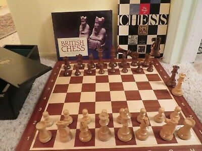 Vintage Allan Troy Chess Set-House of Staunton set AND BOARD-4 Queens+2 books.