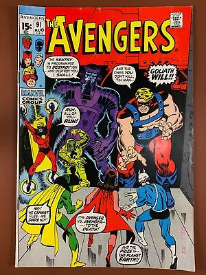 Avengers #91 (1971 Marvel) Goliath appearance Bronze Age NO RESERVE