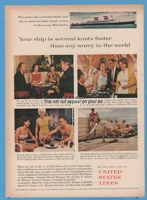 1962 SS United States cruise ship Lines Party Shuffleboard Swim Suit Photo ad