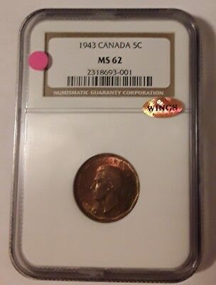 1943, Canada, 5 Cents, Ngc Ms62, Wings Approved.
