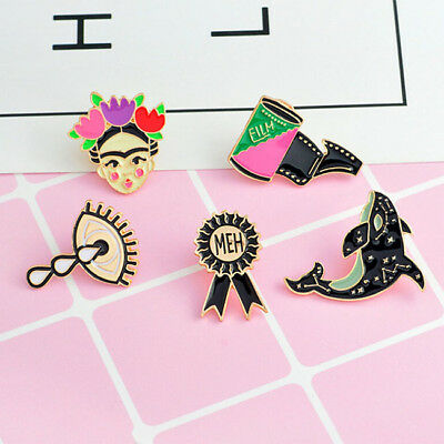 Dolphin Girl Eyes Collar Pins Badge Corsage Cartoon Brooch Collection Gift SA