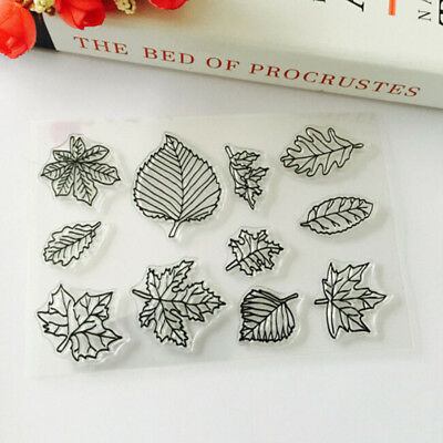Leaf  Shape Transparent Clear Decorating Silicone DIY Stamp Craft Seal Gift Shan