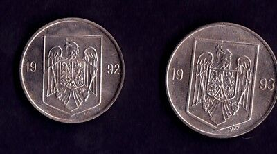Romania 2 Coins 5 Lei 1992 Arms UNC & 10 Lei 1993 Arms UNC