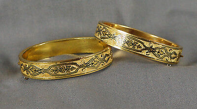 Pair 2 Victorian Gold Pl Taille D'epargne Enamel Hinged Bangle Wedding Bracelets