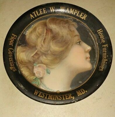 Vtg Tin Advertising Tip Tray Atlee W Wampler. Westminster Md With Women Portray