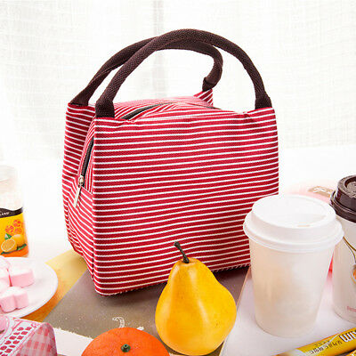Striped Lunch Box Travel Picnic Thermal Food Drink Cooler Storage Box Shan