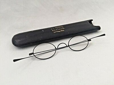 Antique Blued Steel Curly Nose Civil War Looking Spectacles with Tube Case