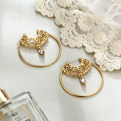 Fashion Geometry Circle Crystal Water Drop Hollow out Earrings Pendant Shan