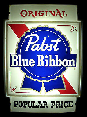 ⭐️ Vintage PABST Blue Ribbon LIGHTED Beer Sign POPULAR PRICE Double Sided Ad Bar